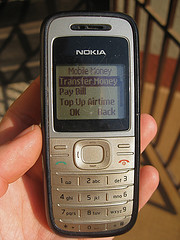 A text-only screen of an older model Nokia cell phone.