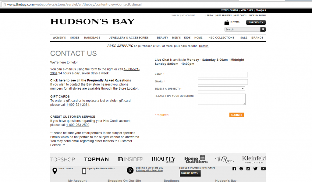 TheBay.com Contact Us Page screenshot.