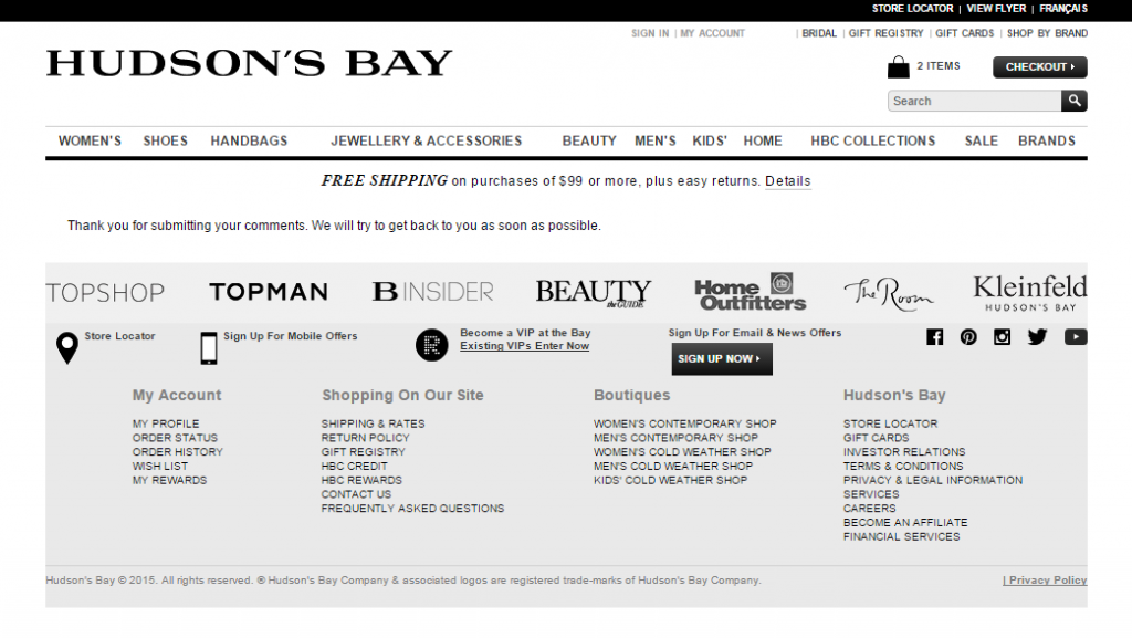 TheBay.com Email form submitted.