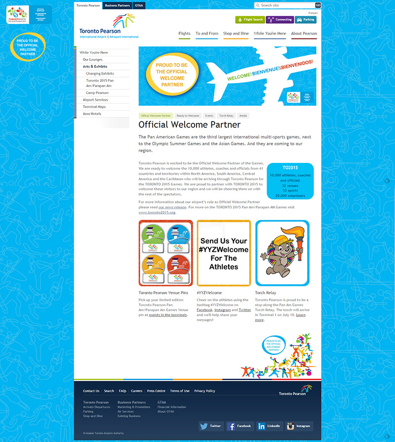 Screen capture of TorontoPearson.com/TO2015