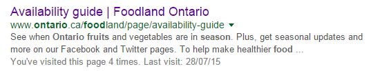 Screen capture of the Google search result showing the Availability Guide from Foodland Ontario.