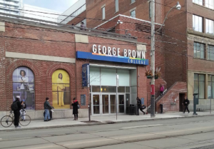 King Street entrance of George Brown College in Toronto where I'll be lecturing about digital voice and tone.